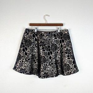 Forever 21+ Black and Gold Floral Skater Skirt 1X